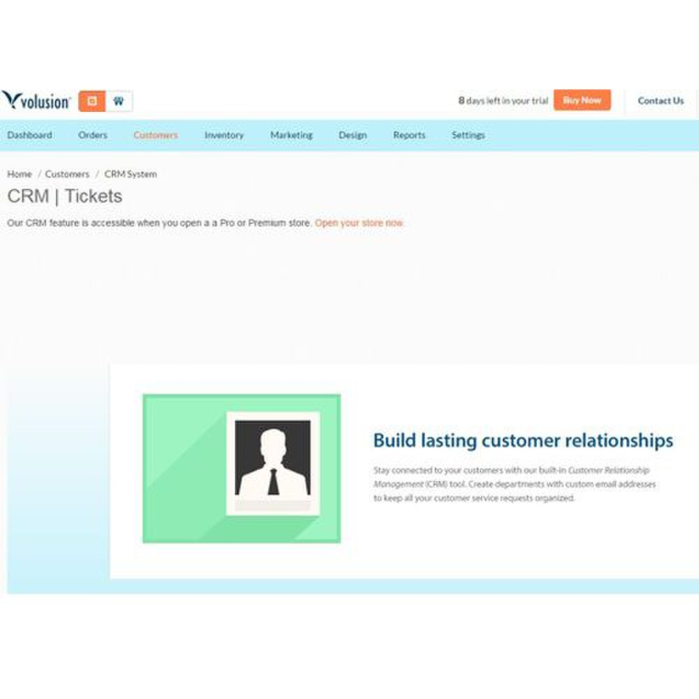 Volusion image: Volusion's  software comes with a CRM system to help you manage your customer information.