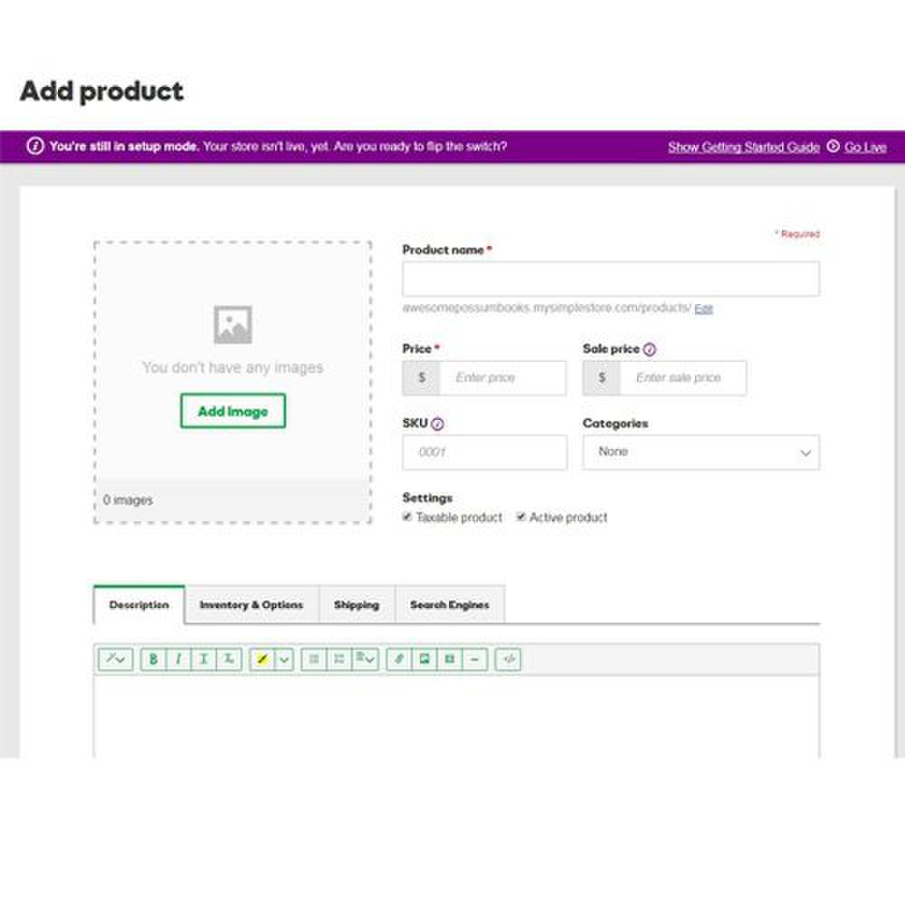 GoDaddy image: You can customize images, text, shipping options and other data when you add a product.