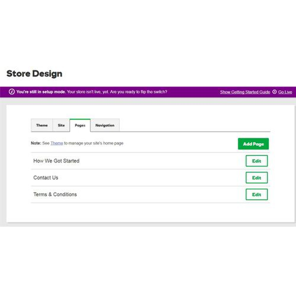 GoDaddy image: You can easily manage your pages from the Store Design section of the GoDaddy platform.