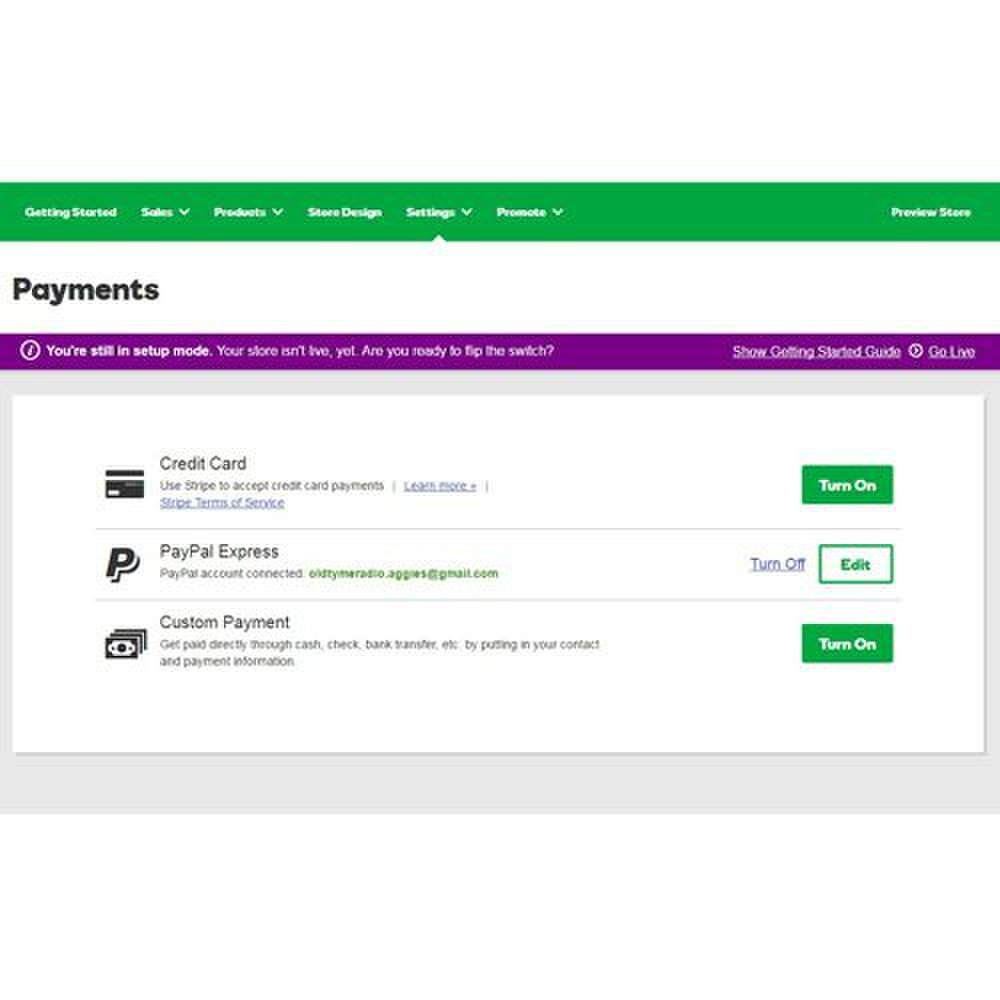 GoDaddy image: Customizing your payment options is intuitive under the Payments tab of this company's platform.