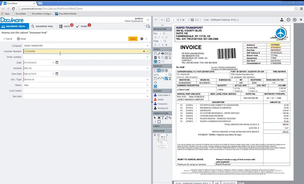 DocuWare recognizes characters on scanned documents that you highlight to fill in searchable metatags.