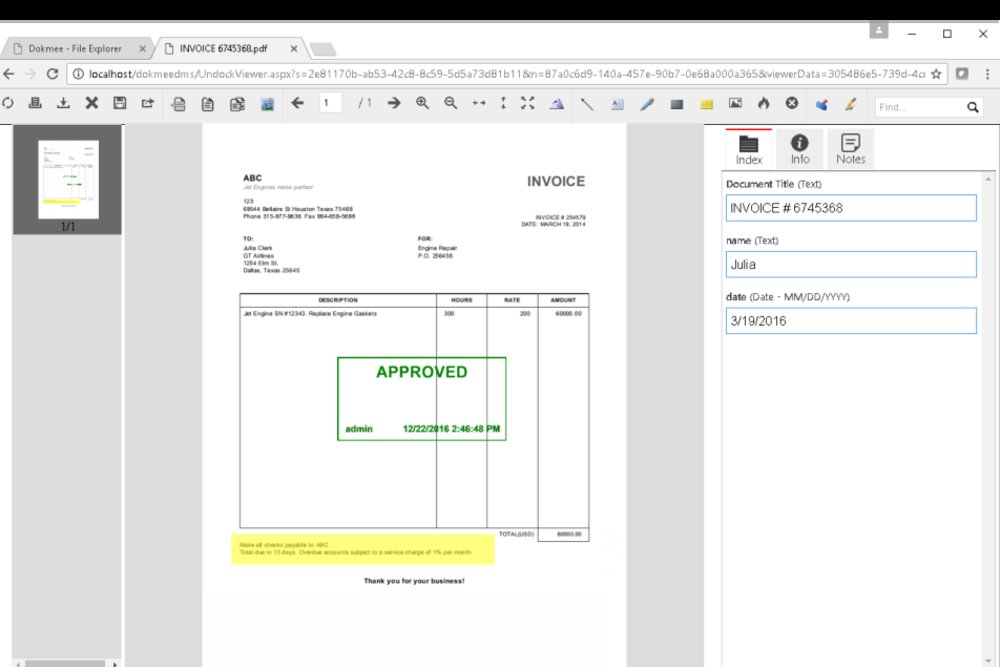 Dokmee's viewer allows you to customize the document's properties.