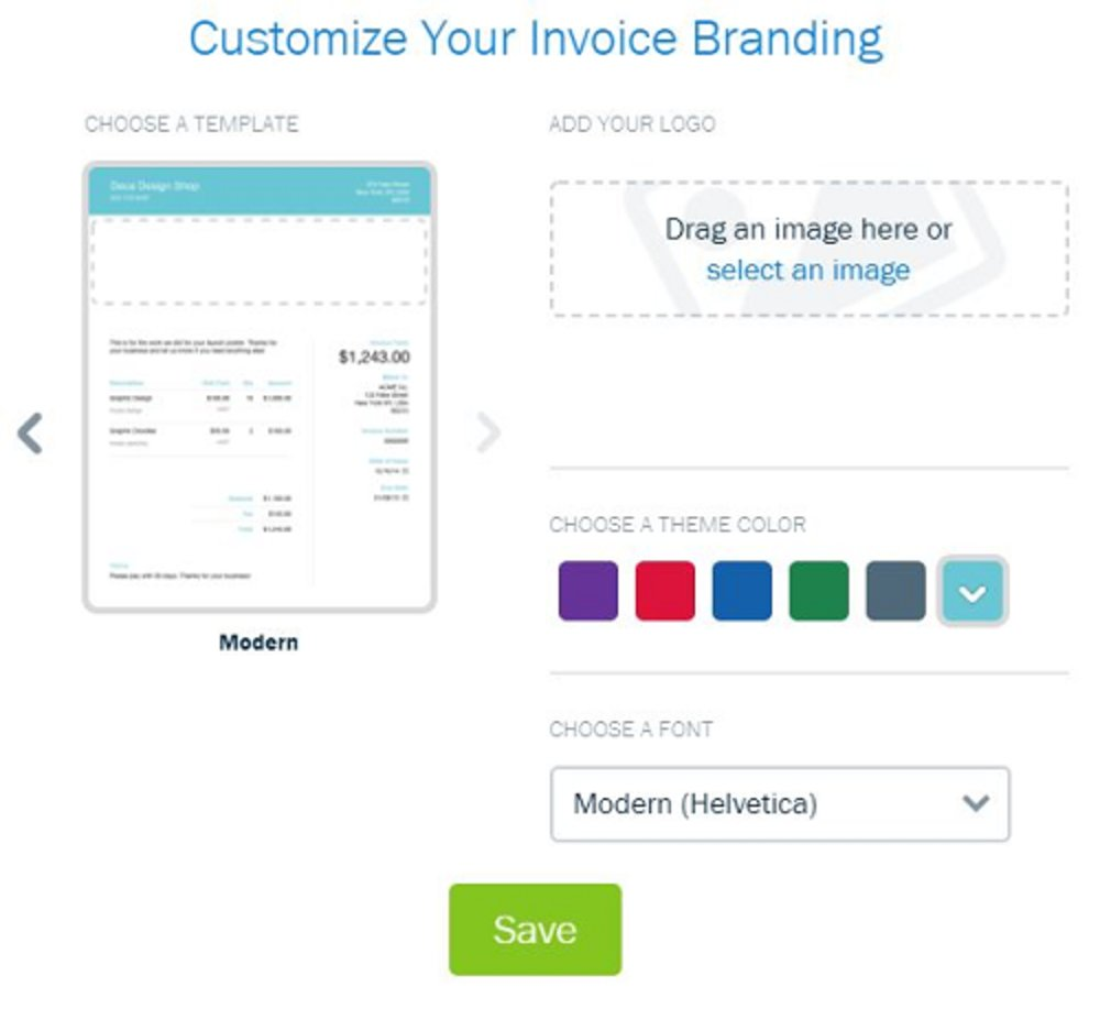 Customizing invoices is easy, though basic. You can choose between two templates and fonts, and add an accent color and your logo.