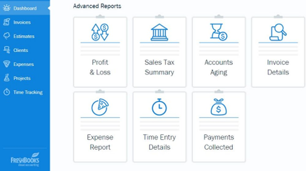 Reports are located at the bottom of the dashboard. Seven options are available, including profit and loss, accounts aging, and expense reports.