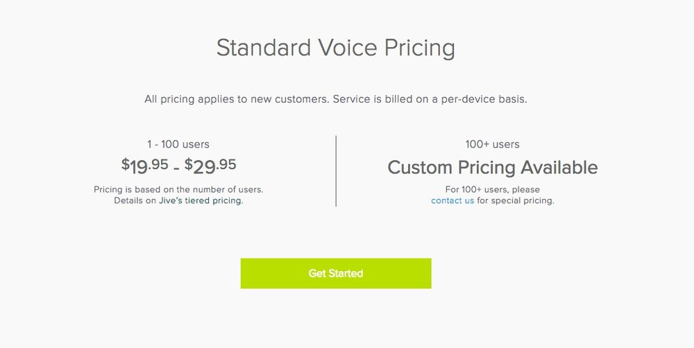 Pricing for Jive is based on how many users your business has.