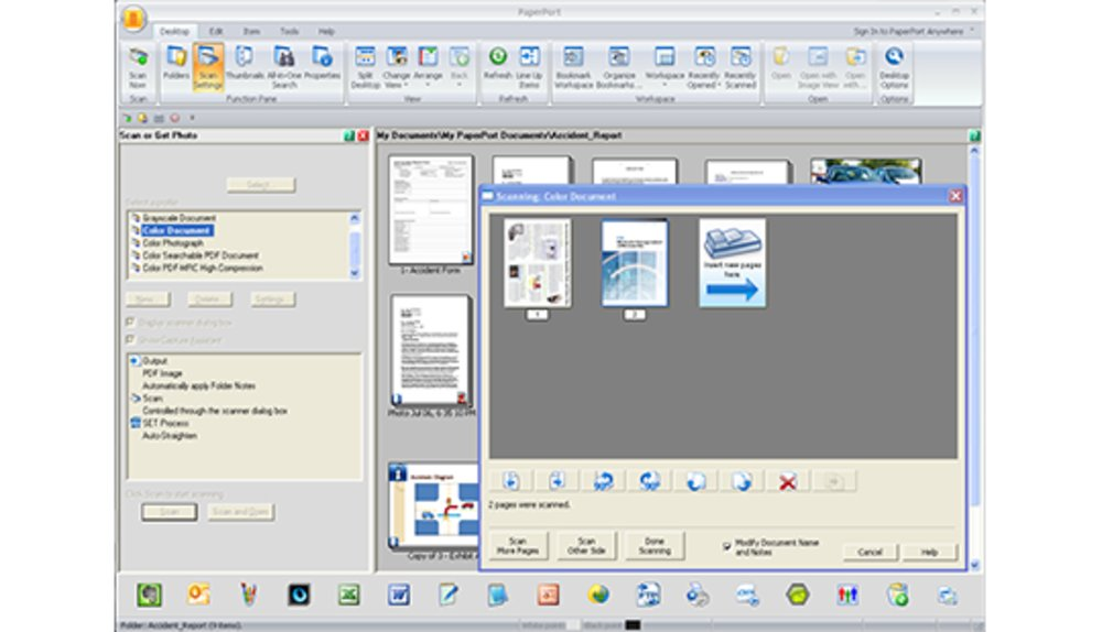 PaperPort Pro features many integrations and various ways to import and export files into the database.