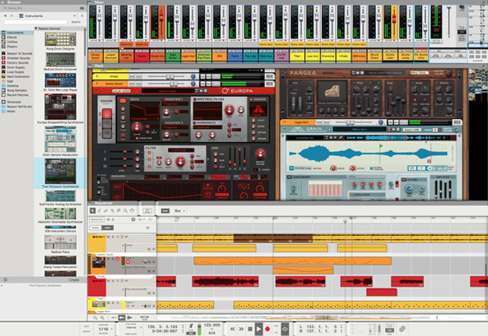 The platform features the overall project timeline on the bottom of the interface so you can load in devices and plug-ins above to edit audio.
