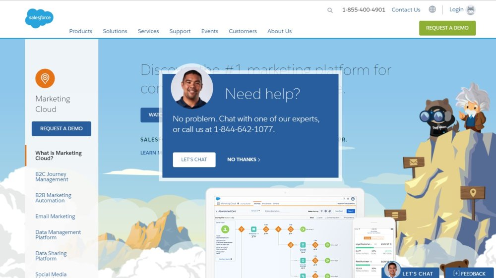 You connect to customer service by live chat on the Salesforce website.