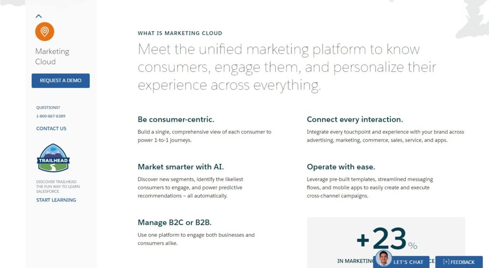 With Salesforce Marketing Cloud, you can manage both B2B and B2C engagement.