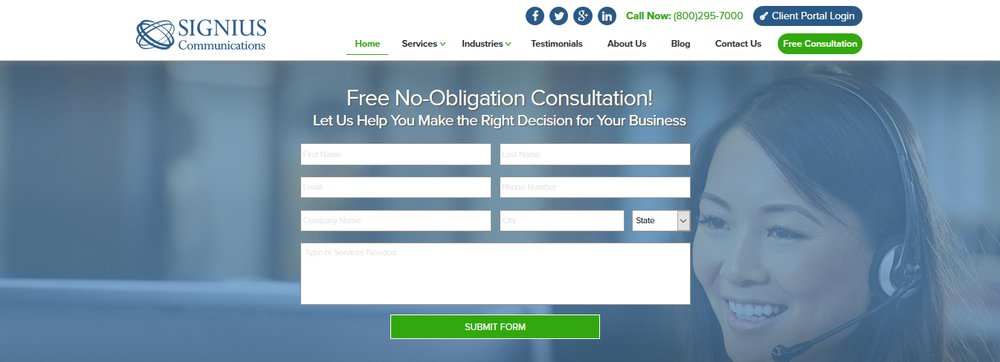 Obtain a free quote from Signius today, based on your service needs and call volume.