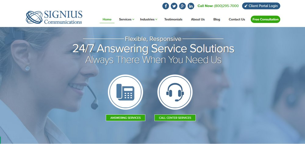 Signius Communications offers a 24/7/365 answering service for customer support and appointment setting.
