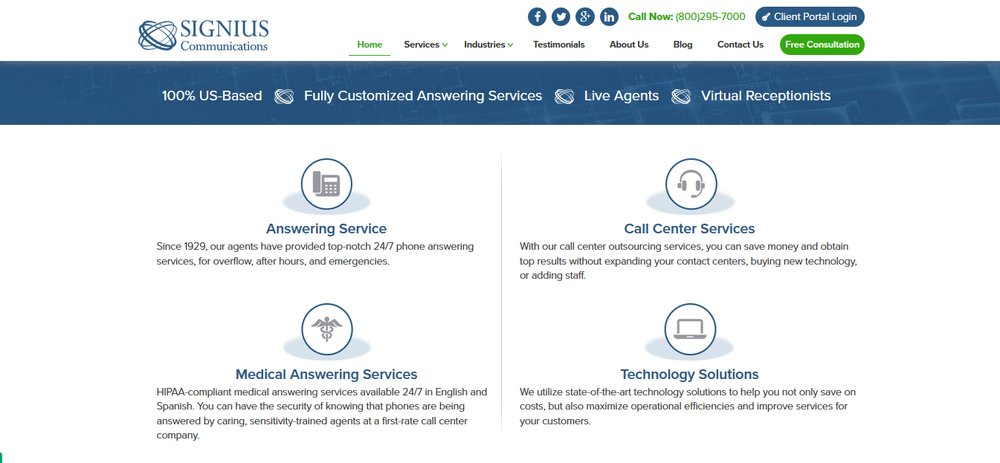 In addition to answering services, Signius provides inbound and outbound call center solutions, industry-specific answering, and technology solutions.