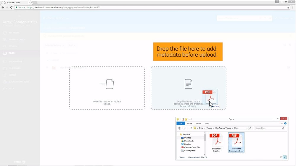 Xerox DocuShare allows users to input metadata to documents they import for better searchability.