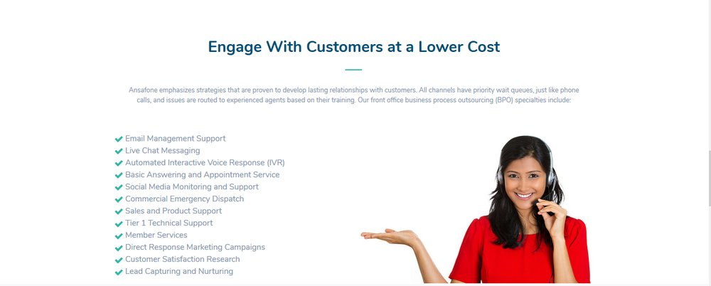 Ansafone's answering services enable you to engage with customers at a lower cost.