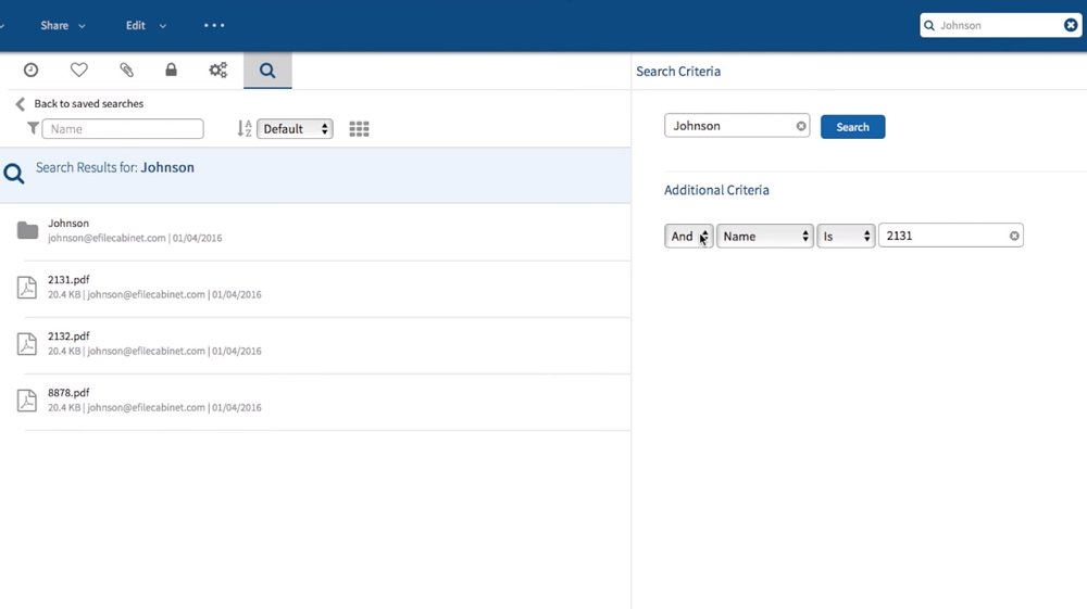 eFileCabinet Online's search function can be customized with several different criteria and metatags.