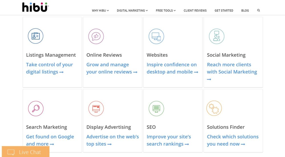 Hibu's tools include ones for social media marketing, search, SEO and online reviews.