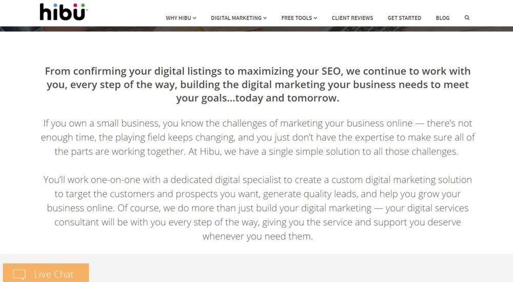If you sign on with Hibu, you get a dedicated digital specialist who can create a custom digital marketing solution for your business.