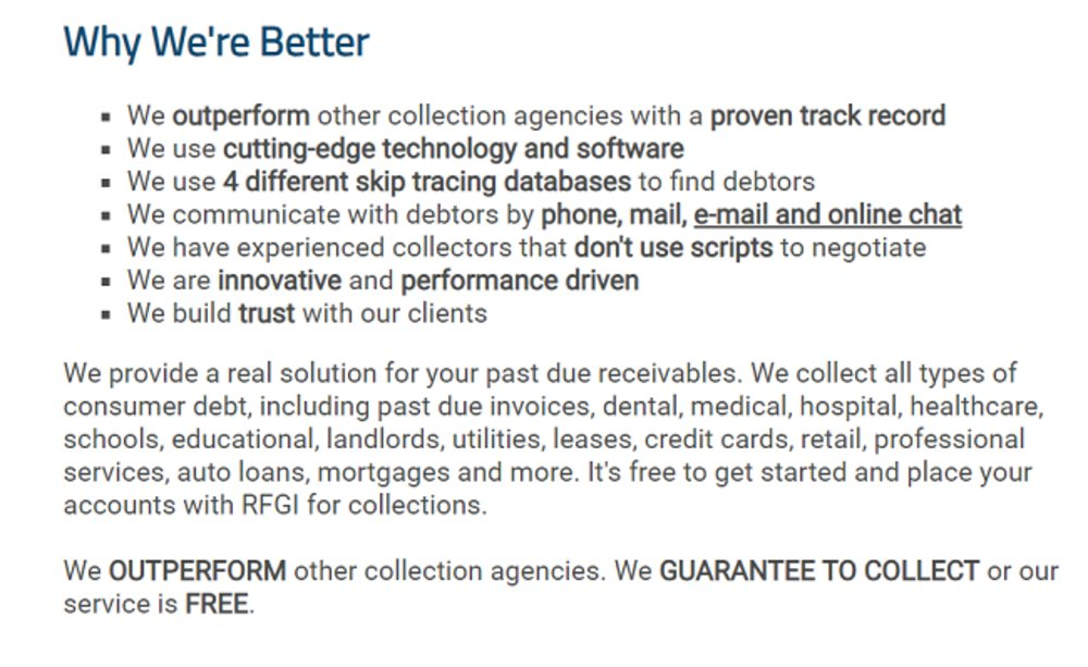 Rozlin Financial Group guarantees to collect or their service is free.