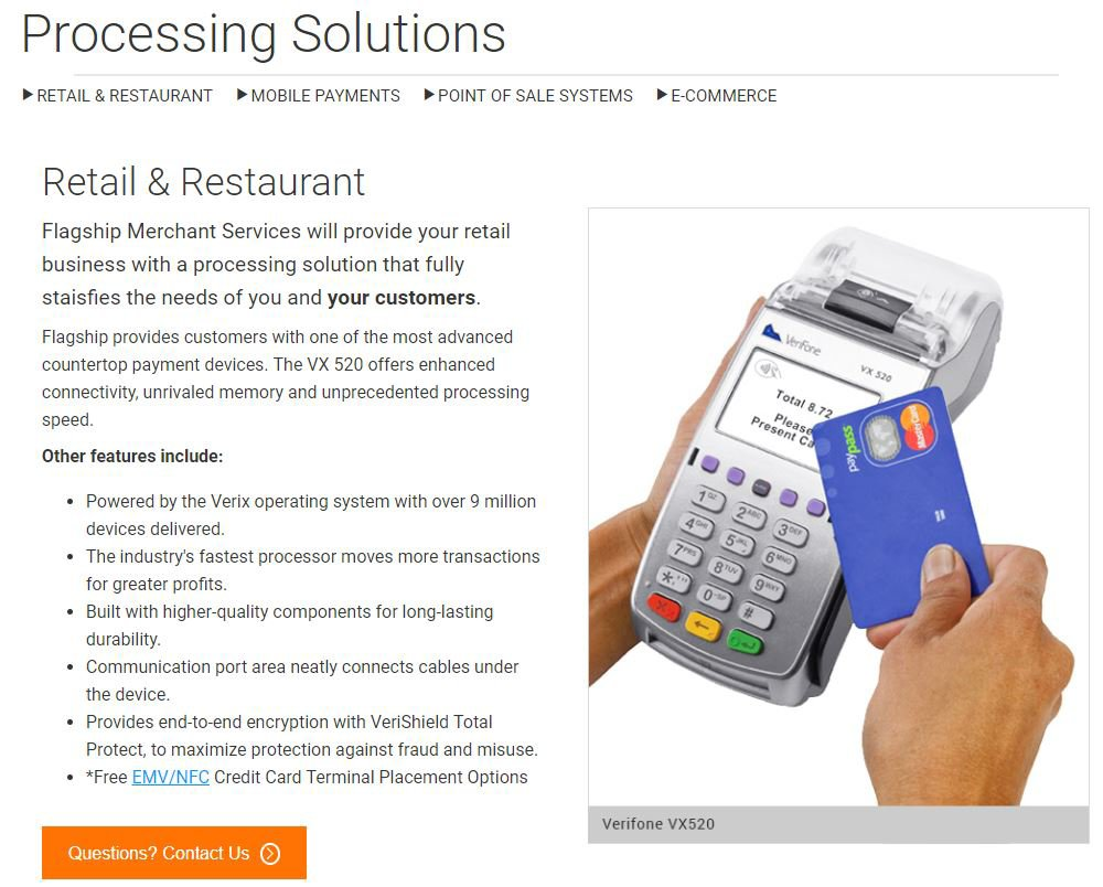 Flagship Merchant Services offers retail, mobile and online credit card processing solutions to many business types.