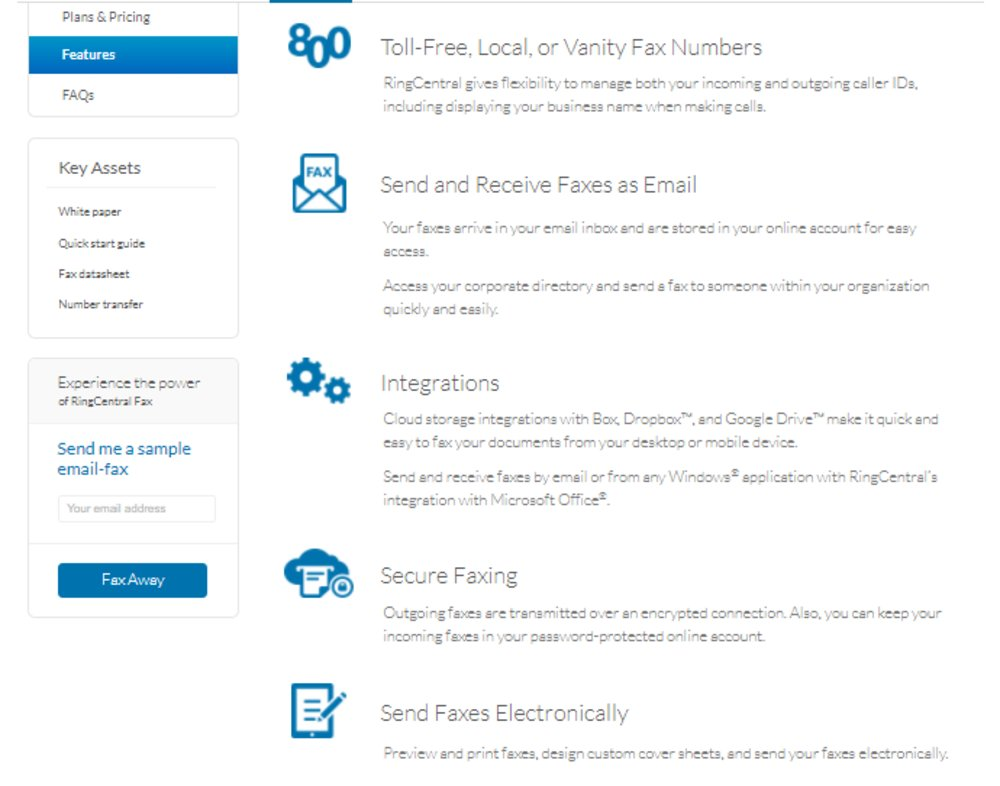 Among the features RingCentral's fax service offers are: custom fax numbers, email-based faxing, cloud storage integrations and secure faxing.