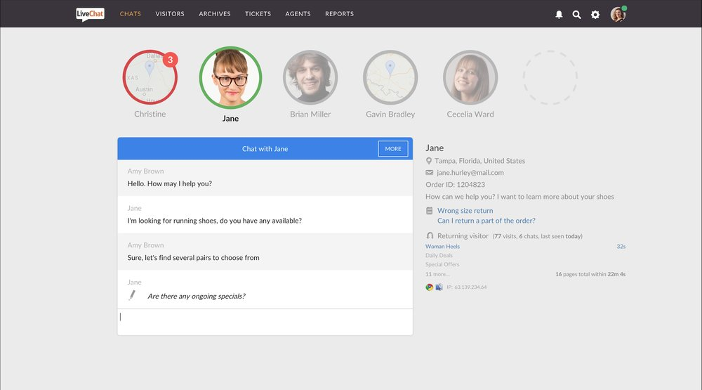 When you're chatting with a customer, you can view their full profile and history of interactions with your company.