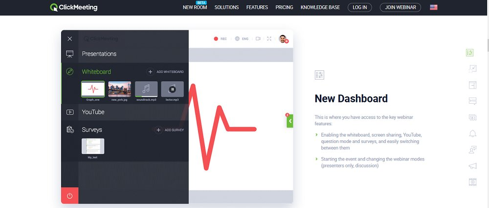 ClickMeeting's dashboard is sleek and intuitive, granting easy access to all the essential features.
