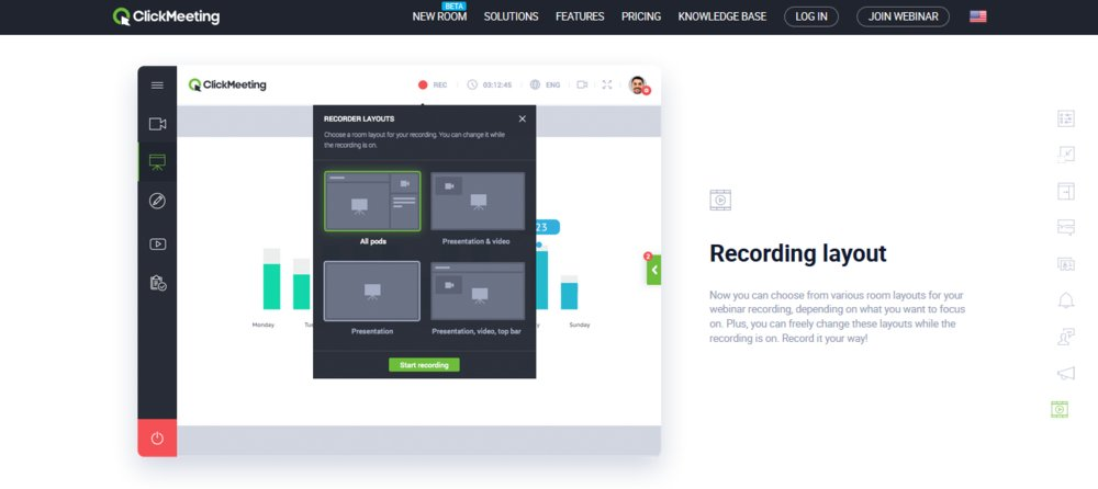 ClickMeeting's recording and storage function enables users to store recorded webinars and video conferences for reference or training purposes.