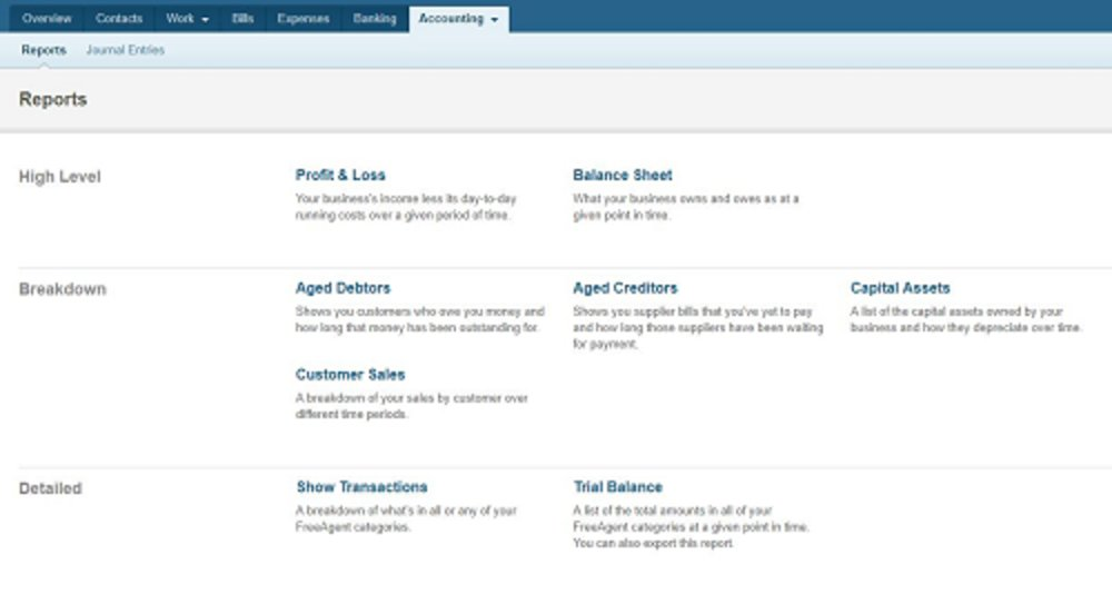 You can run a variety of financial reports using FreeAgent, including profit and loss, sales, and aging reports.