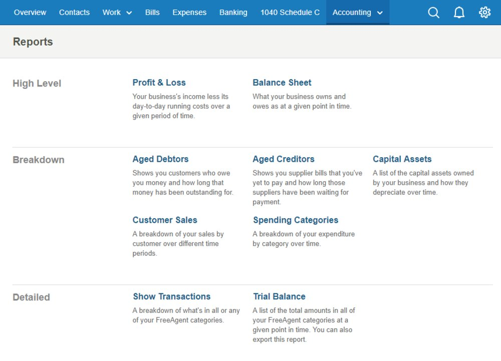 You can run a variety of financial reports using FreeAgent, including profit and loss, sales and aging reports.