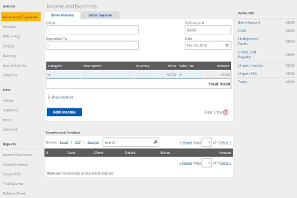 From the dashboard, you can quickly create invoices and bills or record income, expenses and payments.
