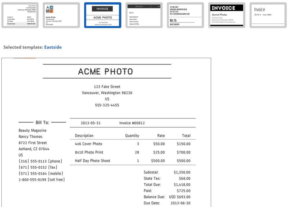 After creating an invoice, you can customize it by clicking Edit Invoice Template. You can then choose a template, upload your logo and add footer text.