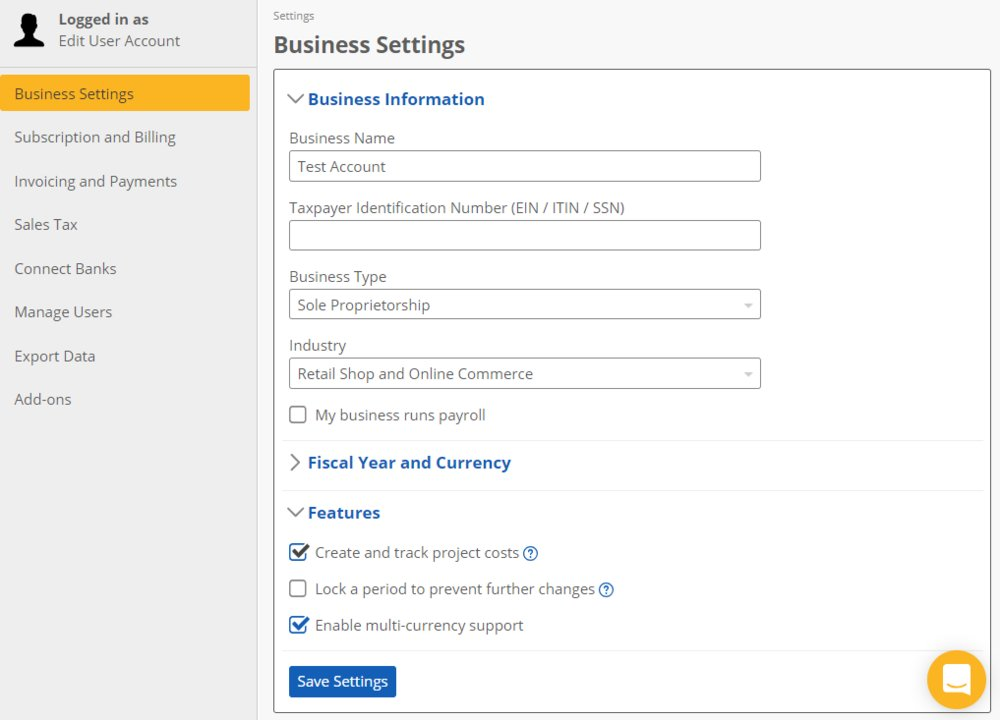 In the Business Settings menu, you can turn on project cost tracking and enable multi-currency support.