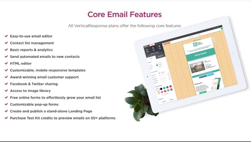 VerticalResponse comes with many standard email marketing features.