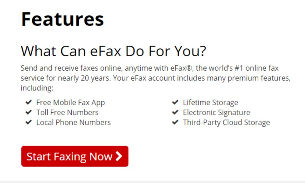 In addition to its free mobile app, eFax offer premium features like local and toll-free numbers, lifetime cloud storage and e-signatures.