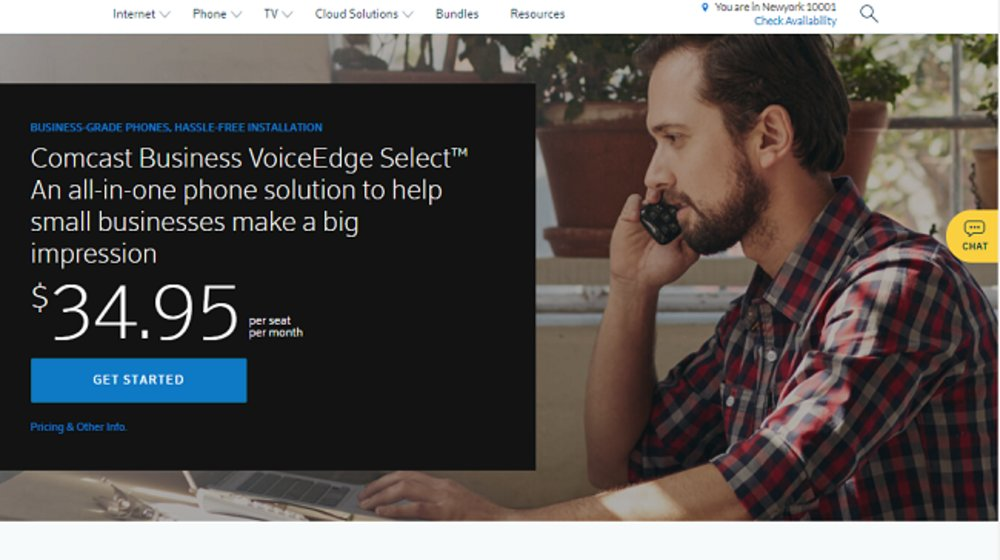 Comcast VoiceEdge Select costs $34.95 per user per month if your company has over 20 users. Prices increase slightly per user the fewer your business has.
