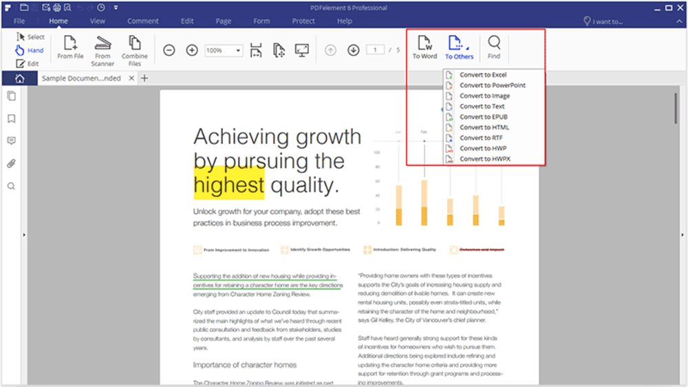 PDFelement allows you to convert into Excel, PowerPoint, Image, Text, EPUB, HTML and more.