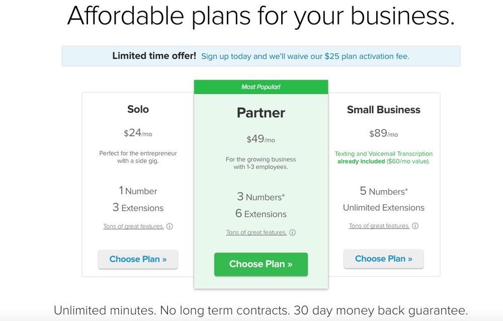 Grasshopper offers three service plans that vary in price and included numbers and extensions.