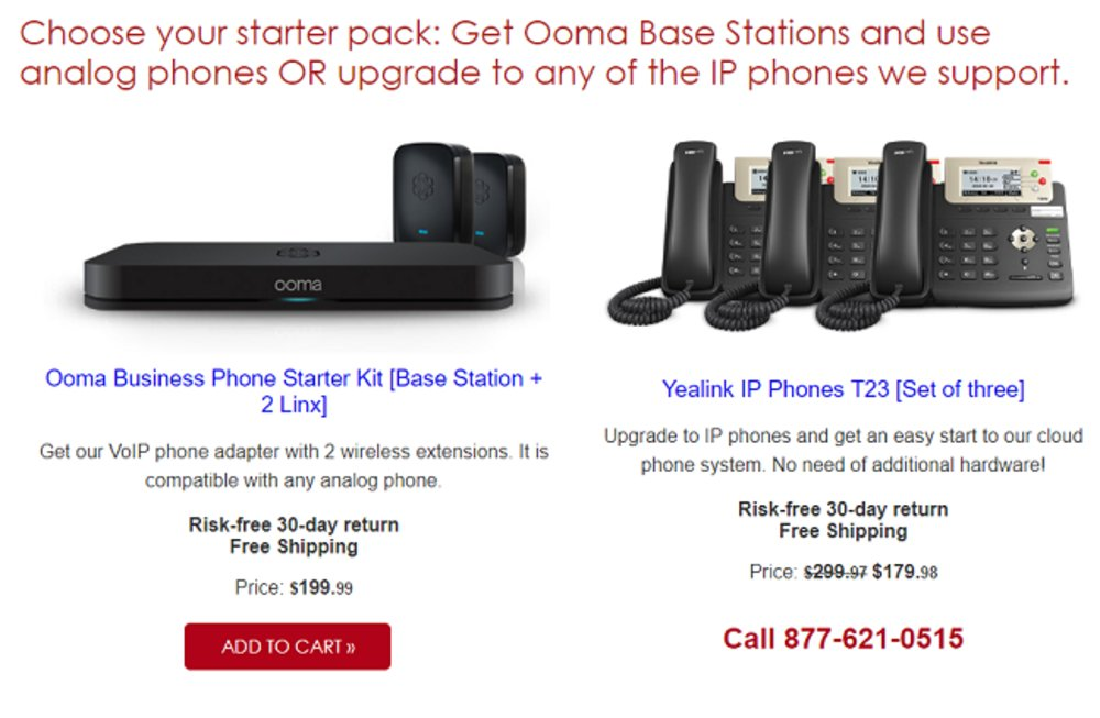 Ooma's core offerings include a starter pack.