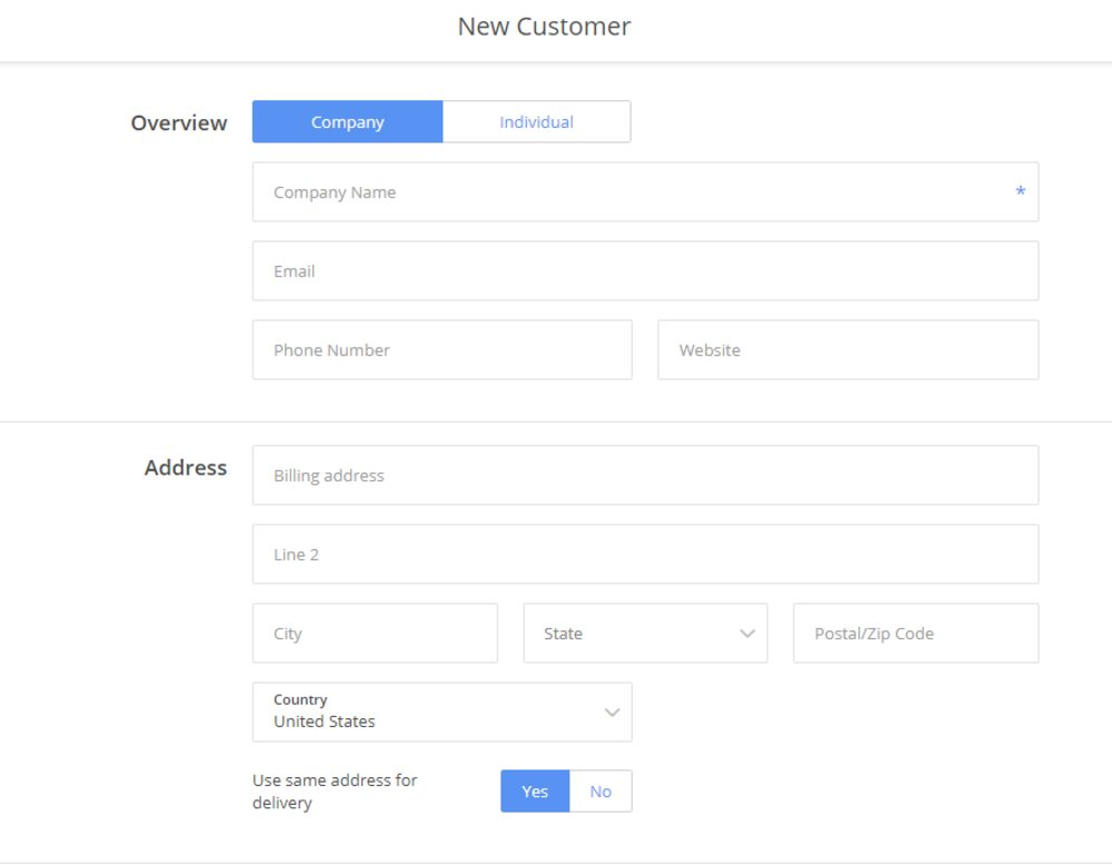 When adding customers to the system, you can indicate whether they're a company or individual. Using the advanced option, you can set payment terms and the price family and add notes.