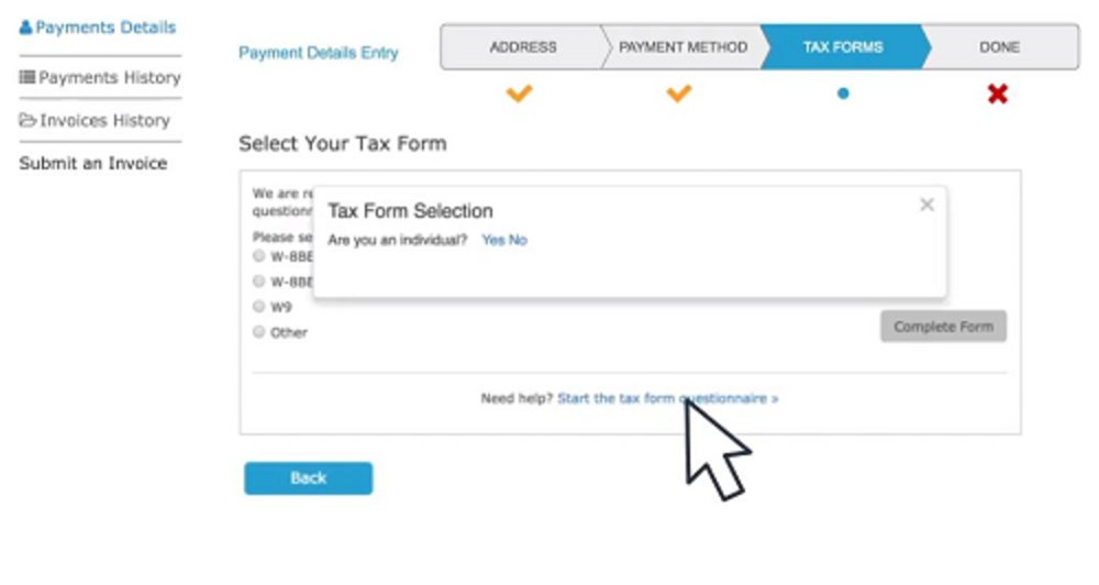 The supplier portal includes a questionnaire that helps your vendors figure out which tax forms they need. They fill out digitized versions of the forms within the portal, and the software cross-checks the data to ensure that it's legitimate.