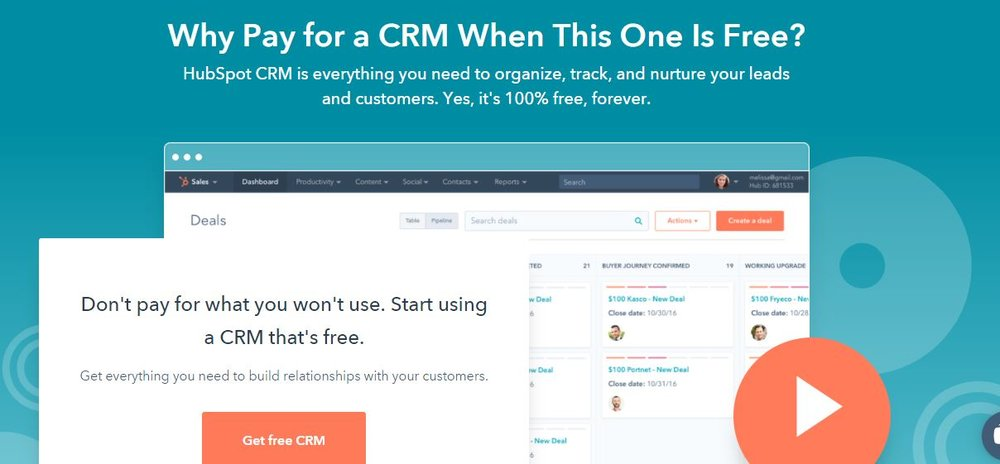 Hubspot offers a completely free version of its CRM software, making it ideal for small businesses on a budget.