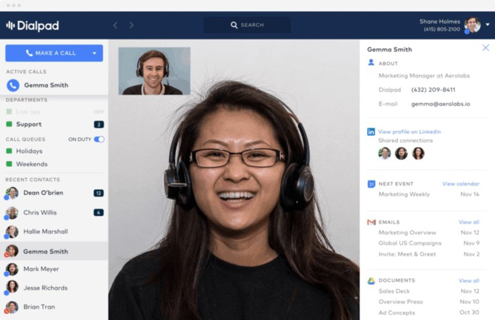 Dialpad allows you to make video calls to your peers.