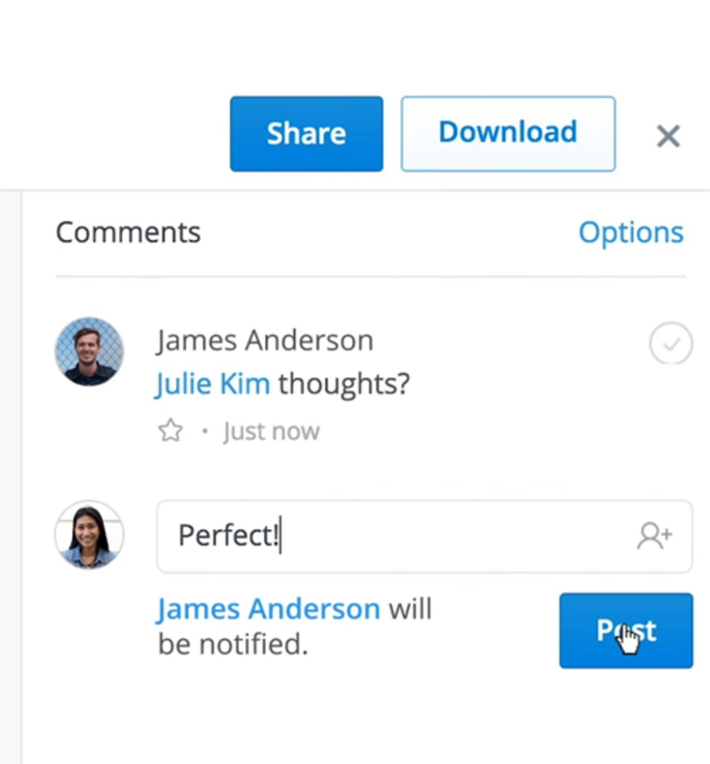 The Dropbox workspace allows invited collaborators to comment on files.