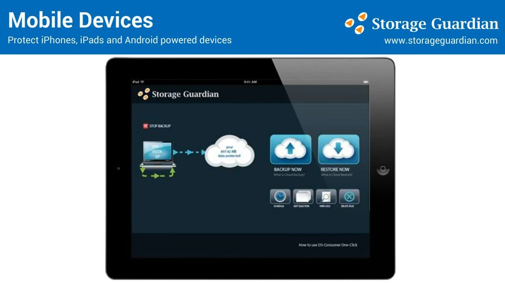 Storage Guardian customers have access to their backup system through their mobile client, so you can manage and backup your mobile devices like laptops and smartphones.
