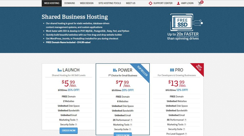 InMotion Hosting offers three shared hosting plans at an affordable cost. Following the introductory prices, plans are between $7.99 and $15.99 per month. The plans also come with a 90-day, money-back guarantee.
