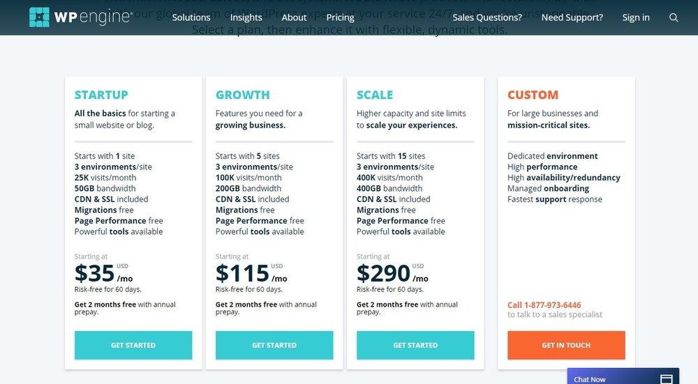 WP Engine has three plans designed for WordPress hosting, and one custom-built plan for large businesses. While these plans have a lot of great features, the plans are more expensive than the other solutions we reviewed.