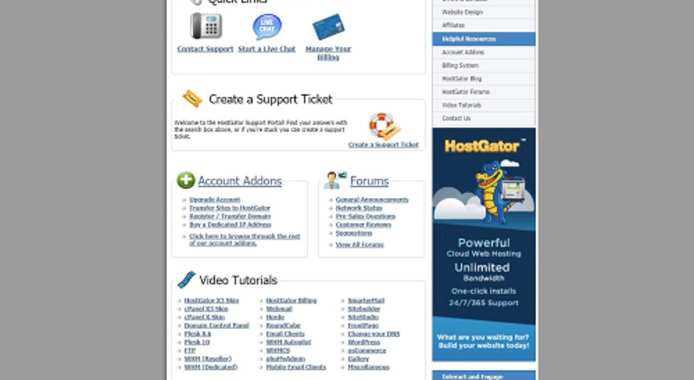 HostGator offers a variety of help resources, including video tutorials, forums and customer support.