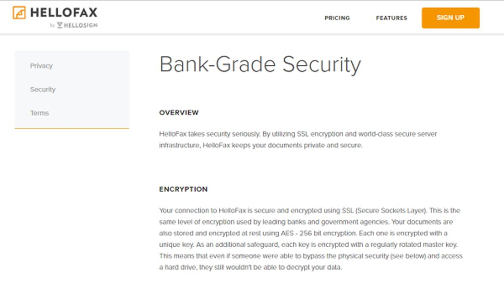 HelloFax claims bank-grade security with AES 256-bit encryption and a secure physical facility.