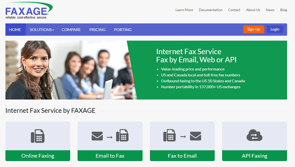 Faxage offers several different faxing options, including online faxing, email to fax, fax to email and API faxing.