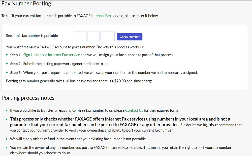 If your current fax number is able to be ported from your existing provider, Faxage makes the process easy.